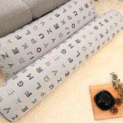 솜불포함 그레이 알파벳 롱쿠션 커버 사각 원형