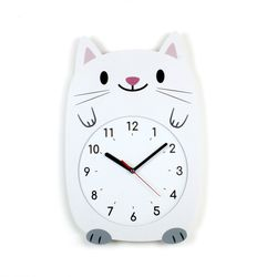 무소음 아이방 벽시계 동물친구들 - 흰고양이