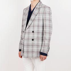 Trendy check double blazer
