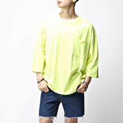 [매트블랙] 루즈핏 포켓 5부 티셔츠