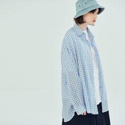 (WOMEN) 썸머 메이비 오버핏 체크셔츠 스카이블루