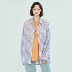 (WOMEN) 썸머 메이비 오버핏 체크셔츠 라일락
