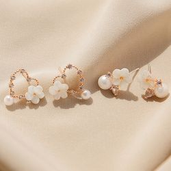 제이로렌 M02558 봄날 로즈골드 하트 자개꽃 귀걸이