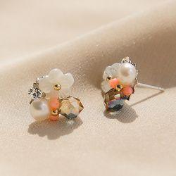 제이로렌 M02559 코랄데이 크리스탈 자개꽃 귀걸이