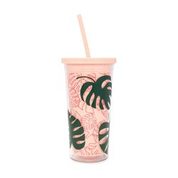 sip sip tumbler with straw - monstera
