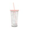 deluxe sip sip tumbler with straw - glitter bomb