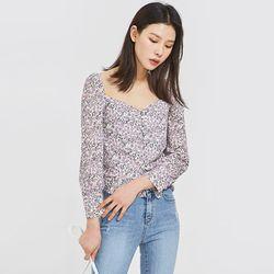 glow neck flower blouse