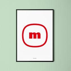 유니크 디자인 포스터 M 브랜드로고m A3(중형)
