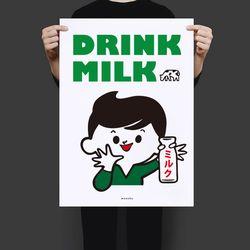 일본 디자인 포스터 M 우유를 마시자 A3(중형)