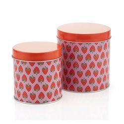 [2만원↑에코백증정] 딸기패턴 원형 틴 상자 SMALLMEDIUM1603067