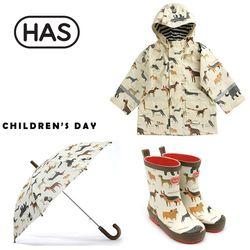 HAS 헤즈 아동레인코트 레인부츠 우산-바우와우 3종