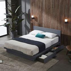 스칸델리 그레이 퀸사이즈 서랍 침대 (독립매트리스)