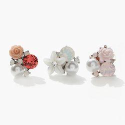 제이로렌 P00312 봄바람 자개꽃 크리스탈 피어싱