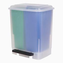 화플라나 2분할 페달 분리수거함 20L (그린/블루)