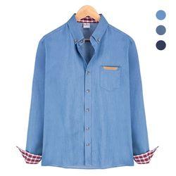 체크 패턴 배색 데님 블루 셔츠NWM001Blue