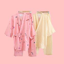핑크 옐로우 일러스트 유카타 투피스 잠옷