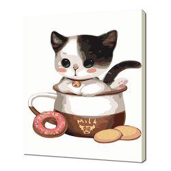 [명화그리기]2030 우유잔 속 아기 고양이 16색