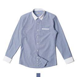배색 포인트 깅엄 체크 남자셔츠