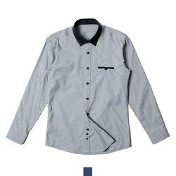 배색 포인트 단추 포켓 남자셔츠