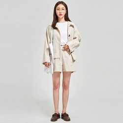 bee button linen jacket