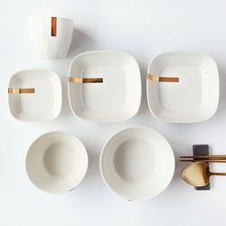 [J TABLE]아덴 골드 한식기 1인홈세트(라인 화이트)