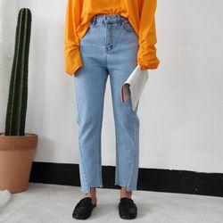 Fresh straight light denim pants