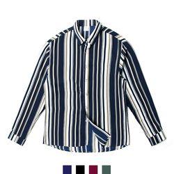 스트라이프 루즈핏 파자마 남자셔츠