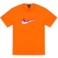 트립션 핑크 밴딩 치약 티셔츠 - 오렌지