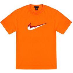 트립션 빨강 밴딩 치약 티셔츠 - 오렌지