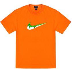 트립션 초록 밴딩 치약 티셔츠 - 오렌지