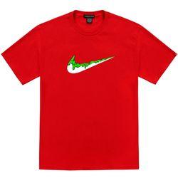 트립션 초록 밴딩 치약 티셔츠 - 레드