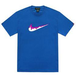 트립션 핑크 밴딩 치약 티셔츠 - 블루