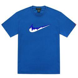 트립션 파랑 밴딩 치약 티셔츠 - 블루