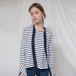 RIBBON LONG SLEEVES STRIPE TOP(NAVY)