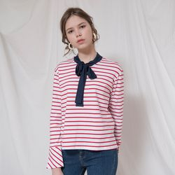 RIBBON LONG SLEEVES STRIPE TOP(RED)