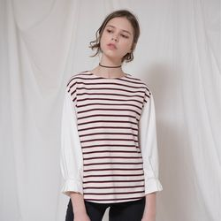 TUCK DETAIL STRIPE TOP