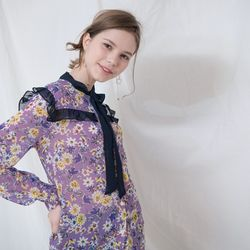 FLOWER PRINTED RIBBON BLOUSE(LAVENDER)