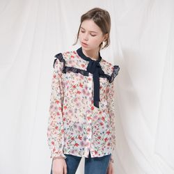 FLOWER PRINTED RIBBON BLOUSE(WHITE)