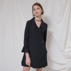 COLLAR POINT DOT WRAP ONEPIECE