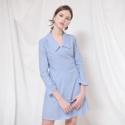 COLLAR POINT SHIRTS WRAP ONEPIECE