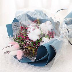 목화 프리저브드 꽃다발(블루)