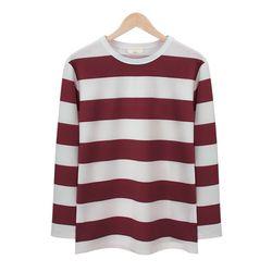 와인 스트라이프 라운드 티셔츠MOD010WINE