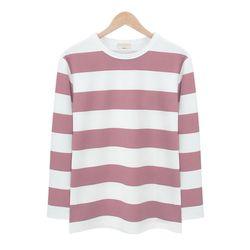 핑크 스트라이프 라운드 티셔츠MOD010PINK