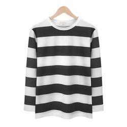 블랙 스트라이프 라운드 티셔츠MOD010BLACK