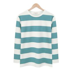 아쿠아블루 스트라이프 라운드 티셔츠MOD010AQUABLUE