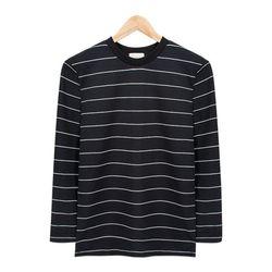 블랙 네로우 스트라이프 라운드 티셔츠MOD006BLACK