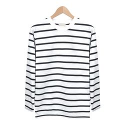 블랙 와이드 스트라이프 라운드 티셔츠MOD005BLACK