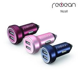 [니즈올] 레드빈 4.8A 2포트 차량용 충전기
