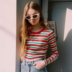 STRIPE LONG SLEEVE RAINBOW