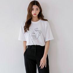 [로코식스] 드로잉 자수 티셔츠
